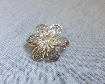 Vintage Sterling Silver Floral Design Pin/Brooch