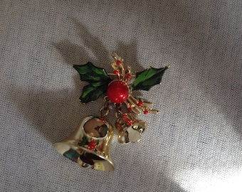 Vintage Goldtone Bells with Mistletoe Pin/Brooch