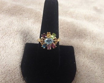 Vintage Goldtone Ring with Multi Colored Gemstones