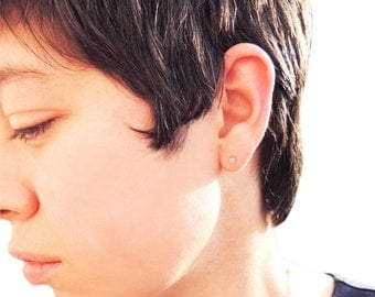 Diamond Stud Earrings- Tiny diamond earrings, natural diamond earrings, white sapphire earrings, stud earrings, single diamond earring