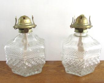 Oil Lamp Cut Glass Starburst Set of Two