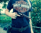 Vintage Orange White and Black Harley Davidson Logo Motorcycle T-shirt Size S
