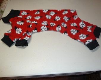 Small and Medium Ladybug Fleece Doggy Pajamas on Red, Ladybug Onesies, Black, White and Red PJs
