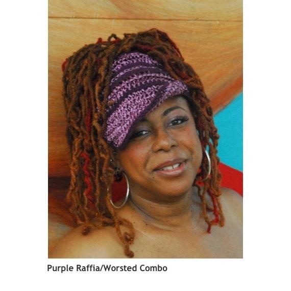 Raffia Crochet Gele Wrap Loc Dreadlock Hat