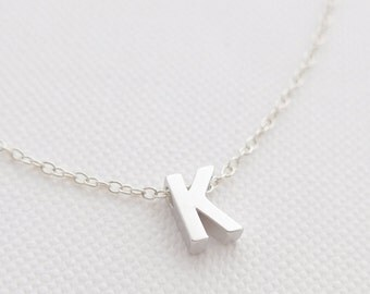 Tiny Silver Initial Necklace - tiny letter necklace - delicate necklace - delicate jewelry - Christmas gift for her // Upper Case