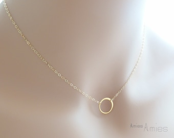 Gold Eternity Ring Necklace - Circle Necklace - Karma Necklace - Bridesmaid Gift - Mother Necklace - Friendship Necklace - Sister Gift