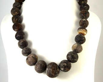 Natural Baltic Amber Necklace Dark color Round Beads Raw Unpolished 50 cm 20 inches