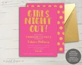 Gold & Hot Pink Dots Bachelorette Invitation || 5x7 Printable Invitation