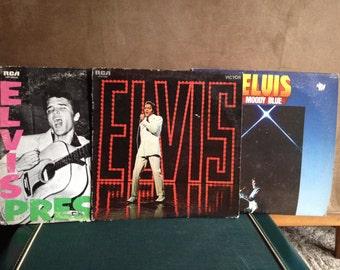 3 Vintage Elvis Presley Albums, 1977 Moody Blue, 1968 Elvis Original Soundtrack from NBC TV Special, 1956 Elvis Presley