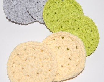 A Set of 6 Crochet Face Scrubbies/Facial Scrubbies/Cotton Pads/Cleansing Pads in Grey, Green and Yellow - 100% Cotton - Ready to Ship