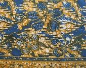 Vintage Batik Tapestry Fabric, Tapestry, Batik, Indian, Ethnic Tapestry, Cotton, Blue, Gold, Floral, Flower, Ethnic