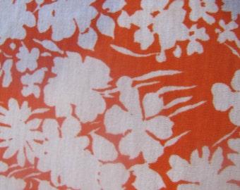 1970's Orange Floral Jersey Fabric, Jersey Fabric, Jersey, Floral, Flower, Orange, 1970's