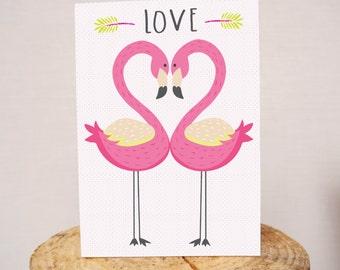 LOVE Flamingos A5 greeting card