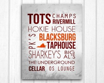 Virginia Tech Blacksburg Bars Print