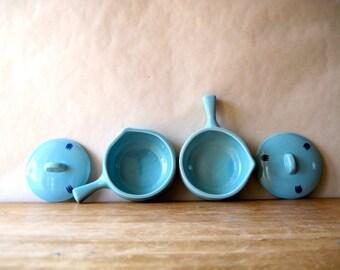 Blue Tulip Ovenware, Cronin Cameron Clay,  Vintage Casserole, VIntage Baker, Vintage Serving, Ceramic Casserole, Mini Casserole, Aqua Dish