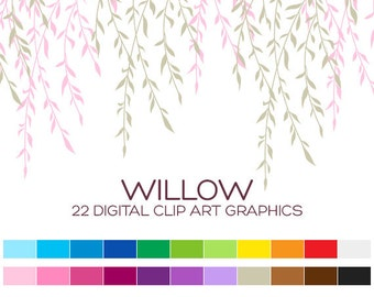 Willow Tree Clipart Tree Branch Clipart Wedding Clipart Floral Clipart Floral Border Clipart Baby Girl Clipart Leaf Clipart Download- A00074