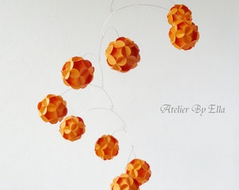 Orange hanging mobile, Kinetic mobile, Paper balls mobile, Home decor, Nursery