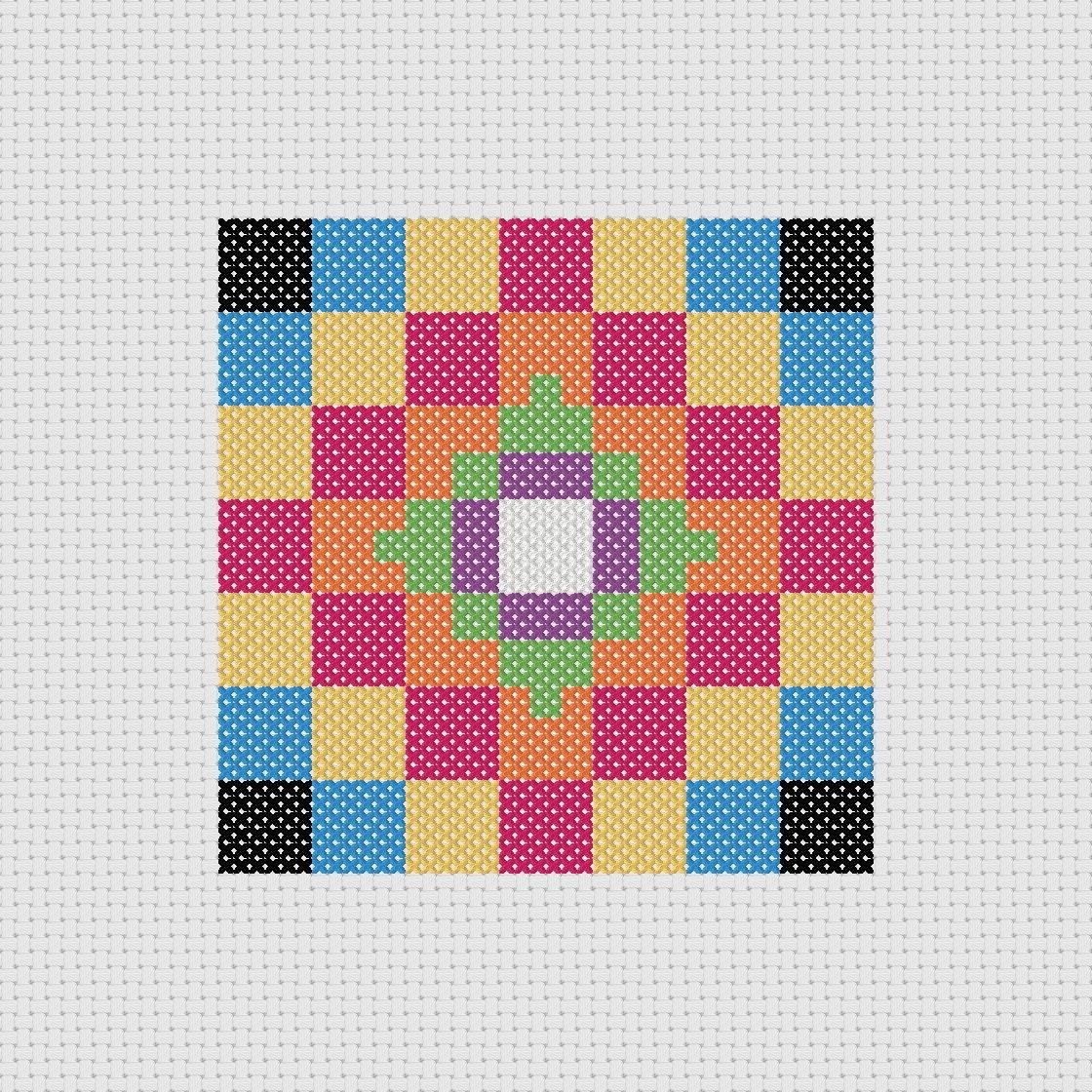 Cross Stitch Pattern PDF Quilt Block Sampler Easy Beginner