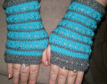 lovely pair of ladies hand knitted fingerless mittens/gloves turquoise and grey