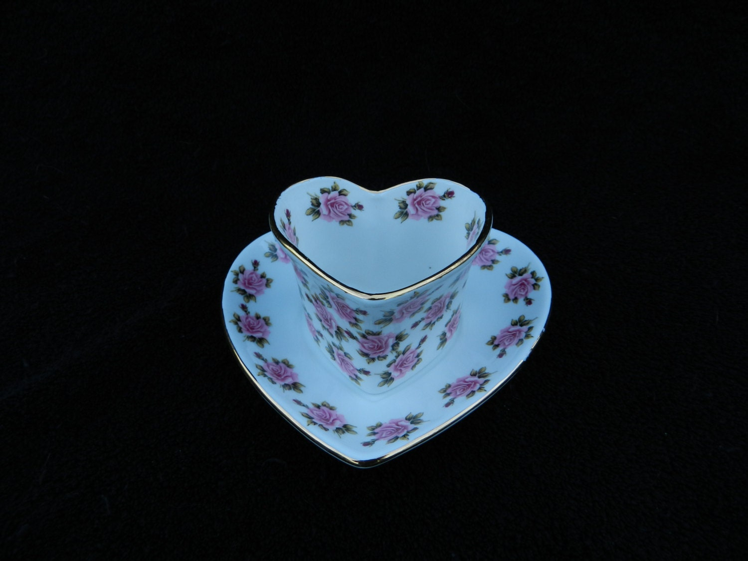 Heart Shaped Demi Tea Cup And Saucer Hand By