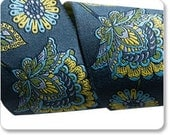 "TULA PINK 1-7/8"" ribbon--Indigo Deer Me Flower on Dark Gray--price is per yard"