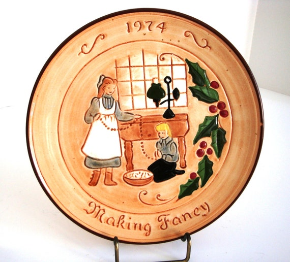 Vintage Folk Art Pottery - Pennsbury/Glenview Pottery Plate - Christmas Plate - Folk Art Plate - Pottery