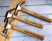 HUGE SALE Engraved hammer with custom message/16 oz. hammer