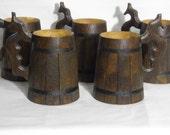 5 Wooden Beer mugs 0.7 l (23oz), natural wood,groomsmen gift, n33