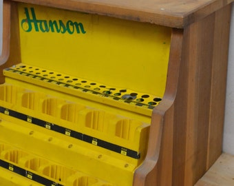 vintage hardware store display, drill bit storage, vintage hardware Hanson advertising