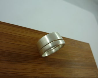 separated sterling silver brushed ring