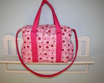 Large Pink Argyle Ladybug Diaper Bag
