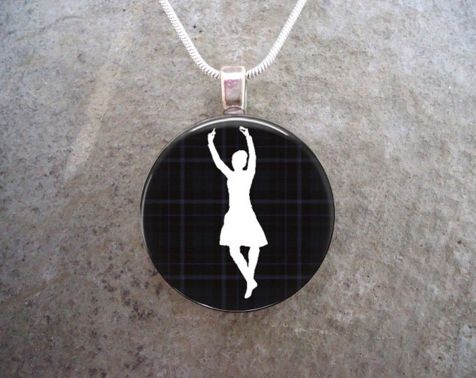 Celtic Jewelry - Glass Pendant Necklace - Highland Dancer Jewellery - Dancer on Black Tartan - RETIRING 2017