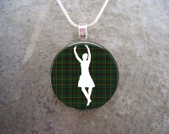 Celtic Jewelry - Glass Pendant Necklace - Highland Bagpipe Jewellery - Dancer on Green Tartan