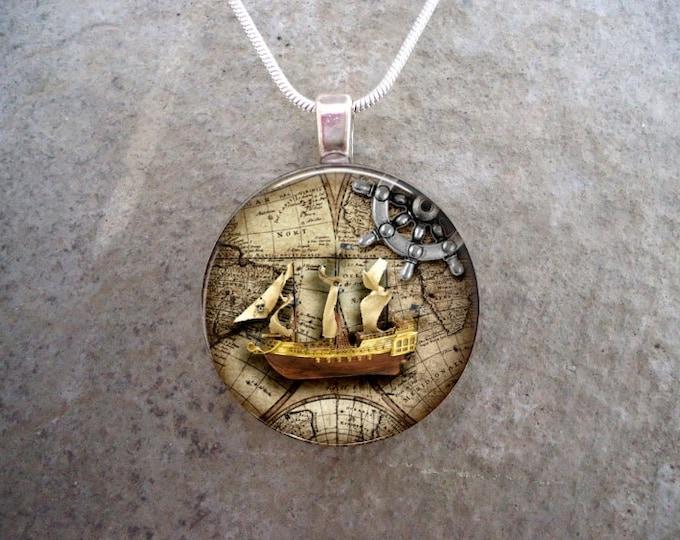 Pirate Jewelry - Glass Pendant Necklace - Pirate 7 - RETIRING 2017
