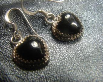 Sterling Dangle Heart Earrings with Black Onyx 992.