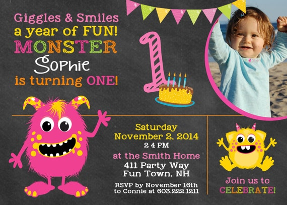 Monster Birthday Invitation First Birthday Monster Party – Monster Party Invites