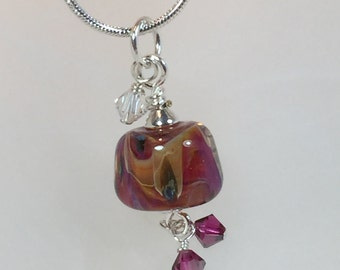 Necklace pink boro glass bead with crystals