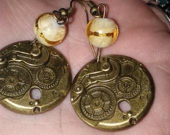 Brass Steampunk Cog earrings