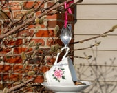 Tea Cup Bird Feeder with Hand Stamped Bent Spoon- LOVE- Perfect Valentine's Day Gift