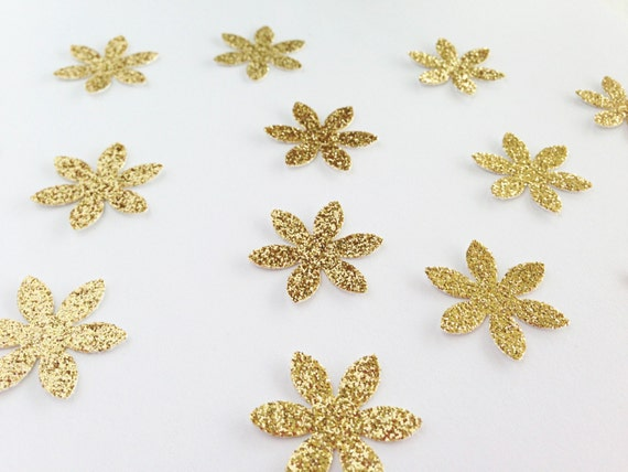 "Flower Confetti - Gold Glitter -  1"" - Wedding Decor. Floral Decor. Bridal Shower. First Birthday. Table Confetti. Bachelorette Party."