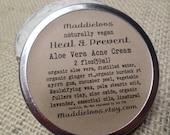 Vegan-Aloe Vera ACNE CREAM-heal & prevent acne~(apply wait then rinse)anti-inflammatory/anti-septic/anti-fungal properties-2 oz. tin
