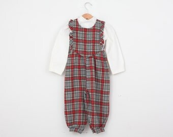 Vintage Romper Outfit in Plaid by Mufflings 3T