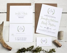 Rustic Wreath Wedding Invitation Suite - Unique, Whimsical Wedding Invite Package - Custom Green and Gray Modern Wedding Invitations