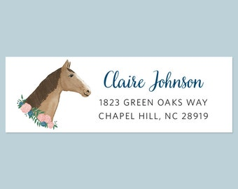 Horse Return Address Labels, Watercolor Horse Return Address Label, Horse Lovers Gift, Equestrian Return Address Labels, Rustic Label, Horse