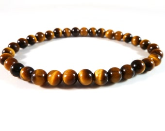 Tiger's Eye Stretch Bracelet Smooth Round Golden Yellow 6mm Bead Bracelet High Quality