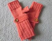 Hand knit dark peach woman's fingerless gloves