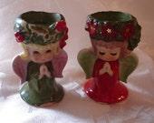 Vintage 50's Lefton Japan Angel Christmas Candle Holders.