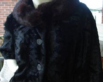 Vintage capelet shrug Fox Fur collar Bolero cropped jacket City Fur Co. NY