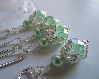 Mint Green Bridesmaid Necklace Mint Wedding Spring Maid of Honor Bridal Party