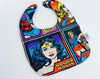 Girl Power, Wonder Woman, Batgirl, Supergirl Portrait ZAP! Snap Baby Bib